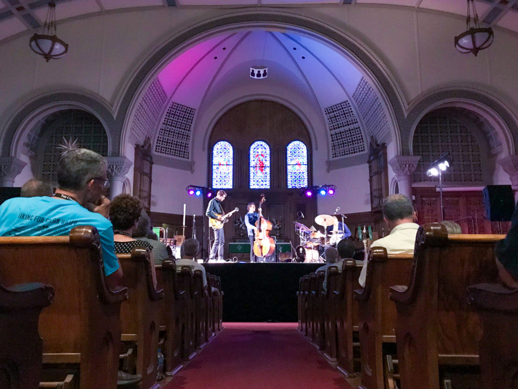 The Mikkel Ploug Trio at the Lutheran Church of the Reformation during the Rochester International Jazz Fest