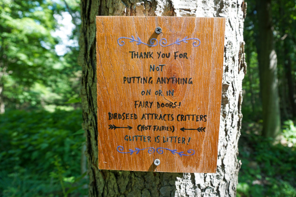 Sign on the Fairy Trail in Mendon Ponds Park near Rochester