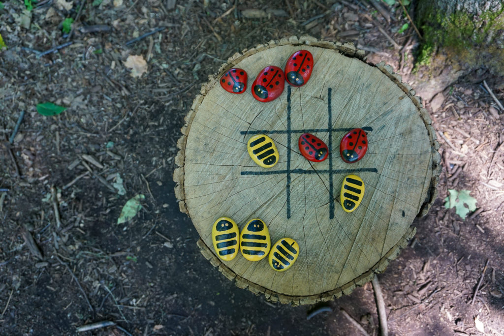 Ladybug Tic-Tac-Toe on the Fairy Trail in Mendon Ponds Park near Rochester