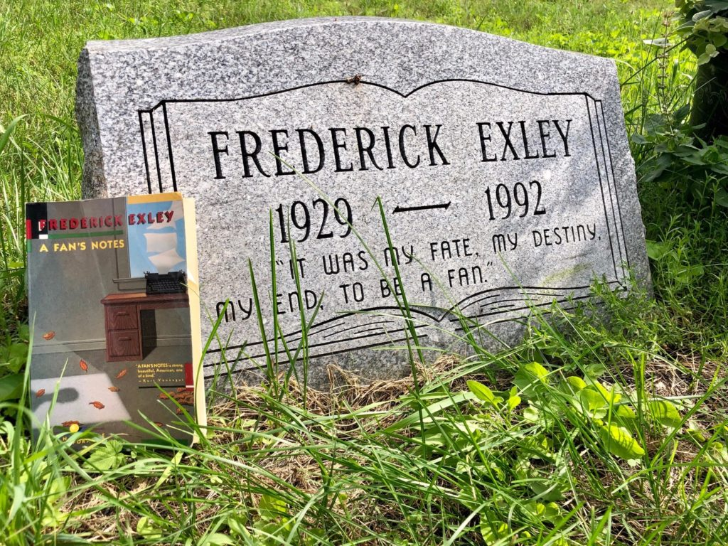 Fred Exley Gravestone with A Fan's Notes in Watertown