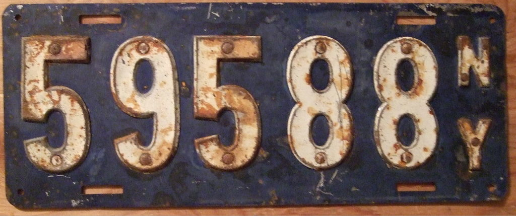 A 1910 New York State Issued License Plate