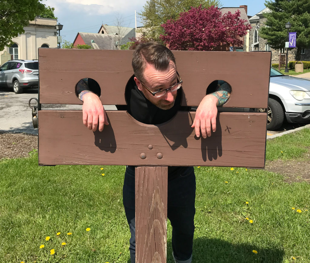 Chris Clemens in Historic Stocks in Johnstown, New York