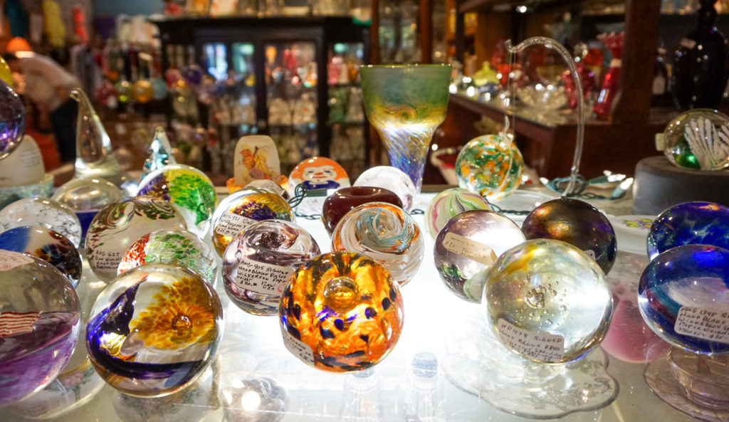Handblown Glass Paperweights at shop in Angelica, New York