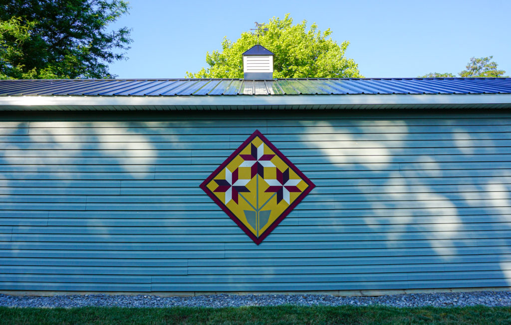 Hamlet of Mertensia Summer barn quilt in Farmington, New York