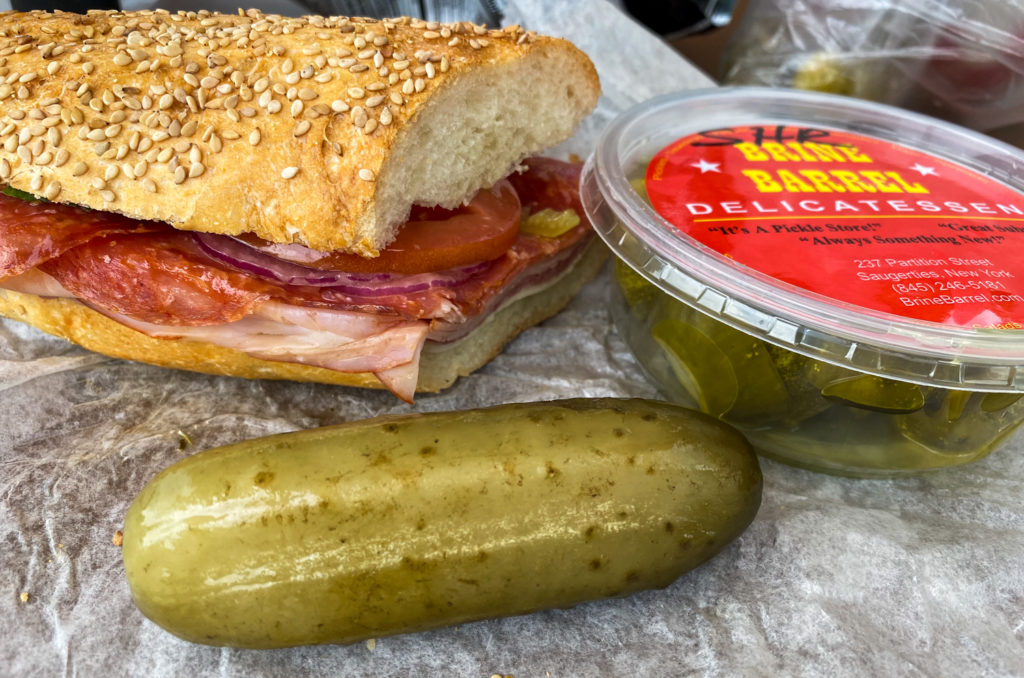 Sandwich and Pickle from the Brine Barrel in Saugerties