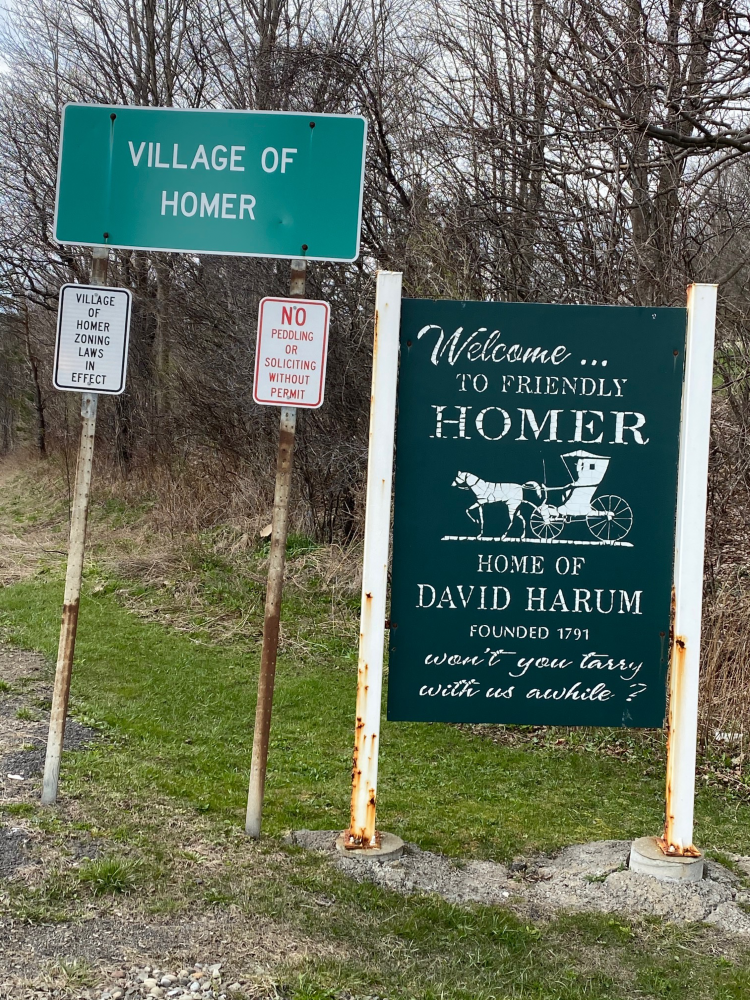 Village Of Homer Welcome Signs Mentioning David Harum