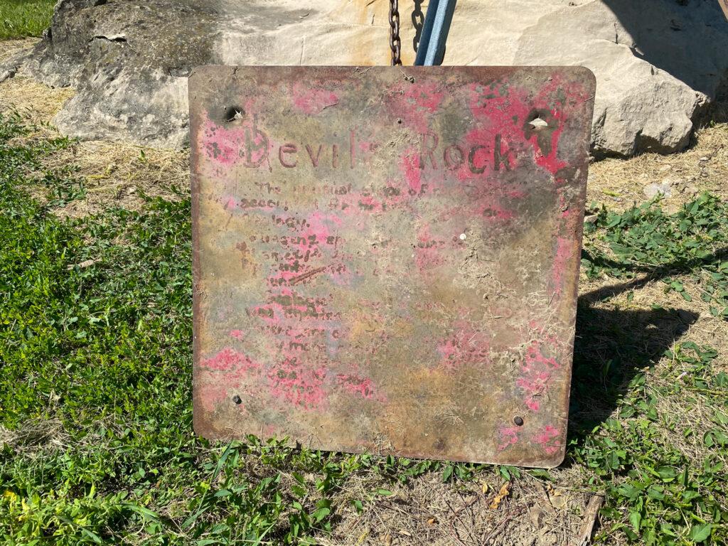 Devil's Rock Sign in Stafford 2021